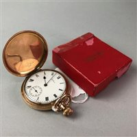 Lot 3-A GOLD PLATED FULL HUNTER POCKET WATCH