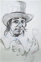 Lot 524-KEITH MOON (THE MAD HATTER), A GICLEE PRINT BY RONNIE WOOD