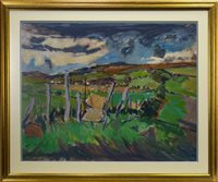 Lot 525-CORNFIELDS AT MEIGLE, AN OIL BY ALEXANDER MILLIGAN GALT