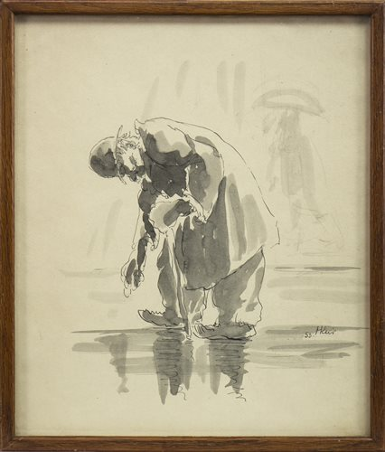 Lot 611 - GENTLEMAN STOOPING, AN INK AND WASH BY HARRY KEIR