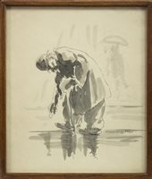 Lot 611-GENTLEMAN STOOPING, AN INK AND WASH BY HARRY KEIR