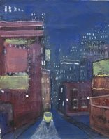 Lot 662 - YELLOW BEETLE, BLUE NIGHT, AN ACRYLIC BY WILLIAM MCDERMID