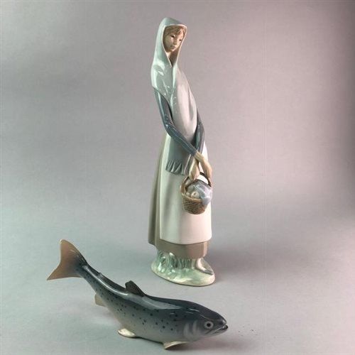 Lot 20-A ROYAL COPENHAGEN TROUT WITH A LLADRO LADY