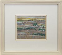 Lot 526-FIELDS, AN OIL PASTEL BY IRENE LESLEY MAIN