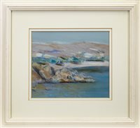 Lot 527-ROCKS AND SEA, PATMOS, A MIXED MEDIA BY IRENE LESLEY MAIN