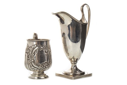 Lot 822-AN EDWARDIAN SILVER PRESENTATION JUG AND A SILVER CREAM JUG