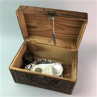 Lot 14-A CHINESE BOX, PLATED CHRISTENING CUP, TRAY, FRAME AND COINS
