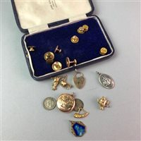 Lot 6-A GOLD BRACELET WATCH, SHIRT STUDS AND CHARMS