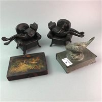 Lot 28-A PAIR OF CAST METAL BOOKENDS AND OTHER OBJECTS