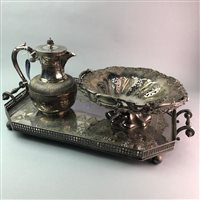 Lot 29-A SILVER PLATED TRAY, BASKET AND A JUG