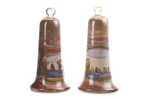 Lot 1217-A PAIR OF VICTORIAN GLASS AND SAND BELLS
