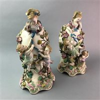 Lot 31-A PAIR OF CONTINENTAL VASES, A FIGURE AND A CENTREPIECE