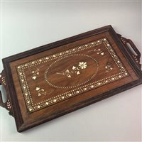 Lot 38-AN INLAID TRAY, A NEO-CLASSICAL LAMP AND TABLE
