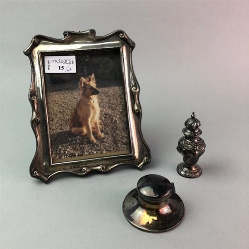 Lot 15-A SILVER PHOTOGRAPH FRAME, SHAKER AND CAPSTAN INKWELL