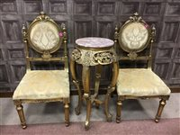 Lot 835-A REPRODUCTION GILT WOOD JARDINIERE STAND AND TWO SINGLE CHAIRS