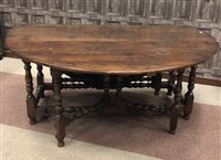 Lot 830-A LARGE OAK GATE-LEG DINING TABLE
