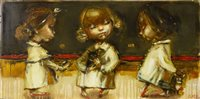 Lot 654 - PLAYING IN THE SAND, AN OIL BY ELENA ILKU