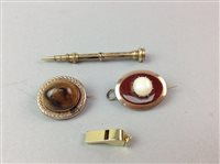Lot 3-A GOLD WHISTLE CHARM, BROOCHES AND EARRINGS