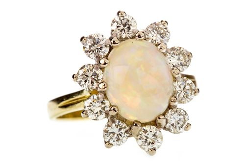 Lot 6-AN OPAL AND DIAMOND CLUSTER RING