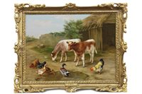 Lot 437-CALVES WITH HENS AND DUCKS, AN OIL BY EDGAR HUNT