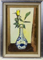 Lot 534-CHINESE VASE WITH ROSEBUD, AN OIL BY NITA BEGG