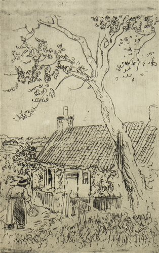 Lot 439-FIGURE IN A STRAW HAT OUTSIDE A FIFE COTTAGE, A RARE ETCHING BY GEORGE LESLIE HUNTER