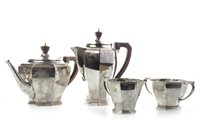 Lot 823-A GEORGE V SILVER FOUR PIECE TEA SERVICE AND A SILVER PLATED TRAY