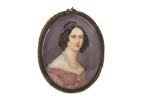 Lot 435-EARLY VICTORIAN PORTRAIT MINIATURE OF A LADY, A WATERCOLOUR AND GUM ARABIC ON IVORY