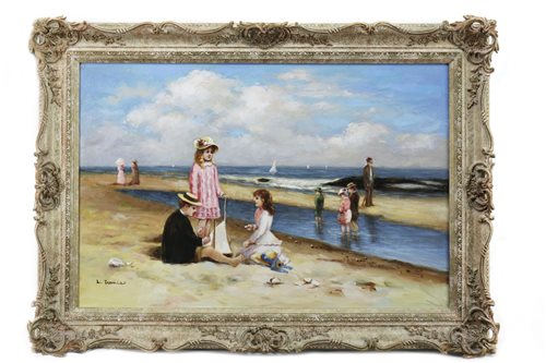 Lot 440-COASTAL SCENE WITH FIGURES, AN OIL ON CANVAS