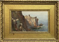 Lot 441-COLDINGHAM CLIFFS, AN OIL BY THOMAS BROMLEY BLACKLOCK