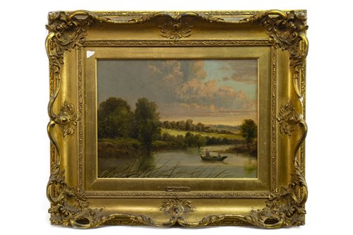 Lot 442-TWO FIGURES ON A LOCH, ATTRIBUTED TO BENJAMIN WILLIAMS LEADER