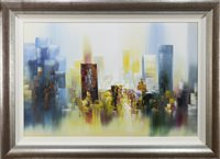 Lot 615-CONTEMPORARY PICTURE OF A SKYLINE