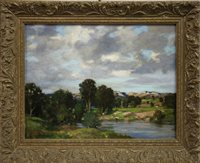 Lot 443-THE RIVER LUNE, AN OIL BY JAMES WHITELAW HAMILTON