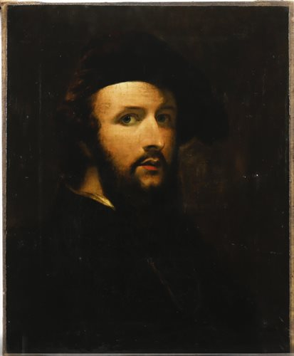 Lot 444-MAN IN REMBRANDT STYLE HAT