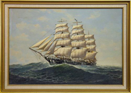 Lot 616-SHIP IN CHOPPY SEAS, AN OIL BY DENZIL SMITH