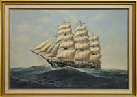 Lot 616-SHIP IN CHOPPY SEAS, AN OIL BY DENZIL SMITH