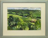 Lot 657 - GREEN LANDSCAPE, AN OIL BY DOUGLAS LENNOX