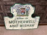 Lot 846-A CAST AND PAINTED METAL BURGH OF MOTHERWELL AND WISHAW STREET SIGN