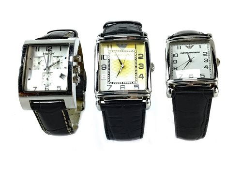 Lot 775-TWO GENTLEMAN'S ARMANI WATCHES AND ONE DKNY WATCH