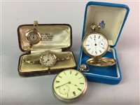 Lot 5-A LOT OF TWO LADIES WRIST WATCHES AND TWO POCKET WATCHES