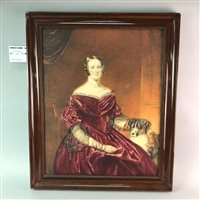 Lot 11-A WATERCOLOUR DEPICTING A LADY IN EARLY VICTORIAN DRESS