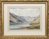 Lot 630-LOCH CORUISK, SKYE, A WATERCOLOUR BY GEORGE TREVOR