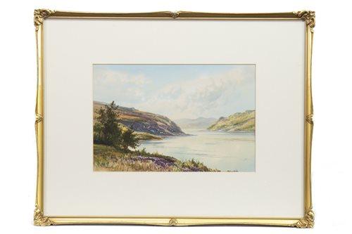 Lot 622-PORTREE BAY, SKYE, A WATERCOLOUR BY GEORGE TREVOR