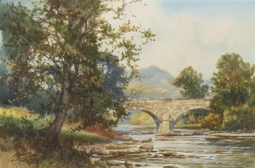 Lot 635-RIVER SCENE, A WATERCOLOUR BY GEORGE TREVOR