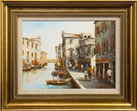 Lot 627-VENETIAN SCENE, AN OIL BY ANGELA BULLO