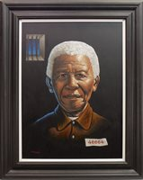 Lot 697-NELSON MANDELA, AN OIL BY GRAHAM MCKEAN