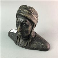 Lot 22-A PATINATED SPELTER BUST OF DANTE
