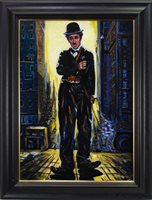 Lot 623-CHARLIE CHAPLIN, AN OIL BY SHAHIN MEMISHI