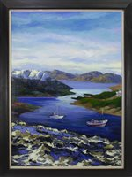 Lot 650 - BOATS ON CALM WATERS, AN OIL BY SHAHIN MEMISHI