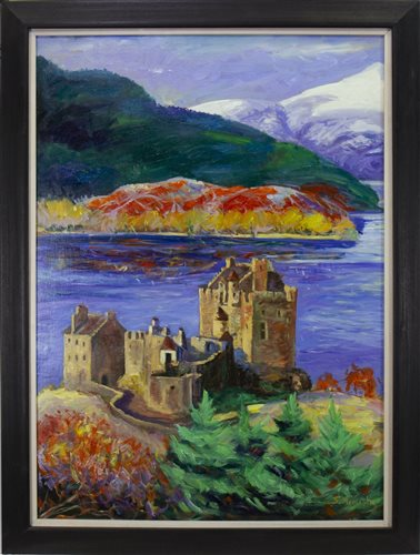 Lot 639 - EILEAN DONAN CASTLE, AN OIL BY SHAHIN MEMISHI